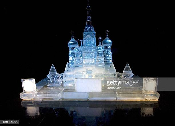 Foot High Ice Sculpture Of St. Basil'S Cathedral Unveiled In London'S Trafalgar Square. The Sculpture Was Created By Award-Winning Russian Ice...