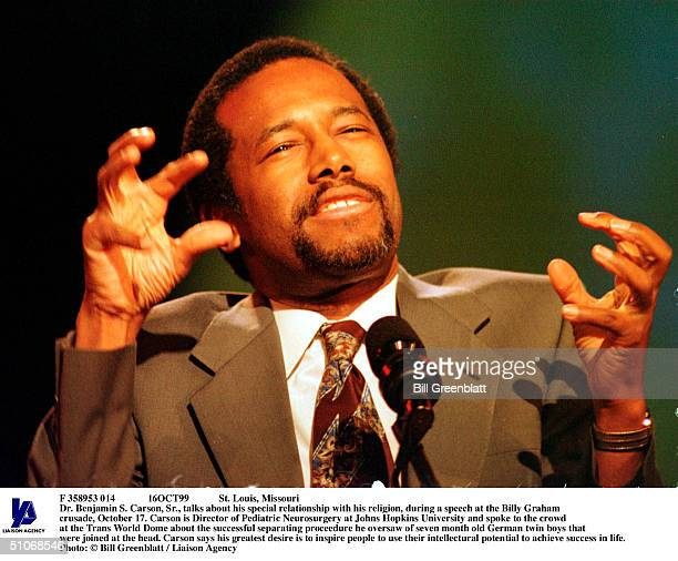 F 358953 014 16Oct99 St Louis Missouri Dr Benjamin S Carson Sr Talks About His Special Relationship With His Religion During A Speech At The Billy...