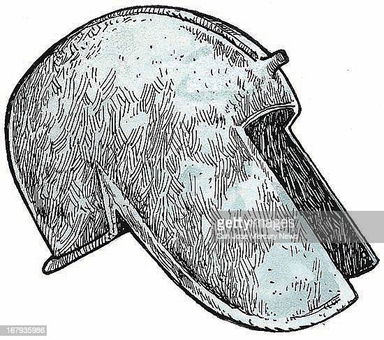 16p x 14p Jim Hummel Kevin Boyd color illustration of GrecoIllyrian helmet from 6th century BC