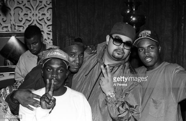 """Pfife Dawg, Q-Tip, Heavy D and D-Nice attend an album-release party for A Tribe Called Quest's """"The Low End Theory"""" on September 16, 1991 in New York..."""