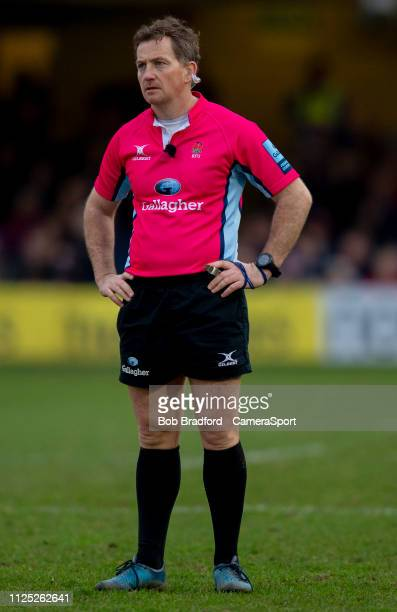 BATH ENGLAND FEBRUARY 16Referee JP Doyle during the Gallagher Premiership Rugby match between Bath Rugby and Newcastle Falcons at Recreation Ground...