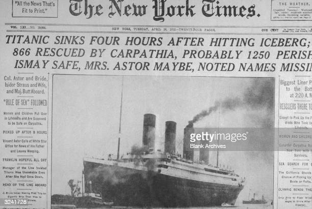 Front page of The New York Times newspaper with headlines announcing the sinking of the 'Titanic' ocean liner dated Tuesday