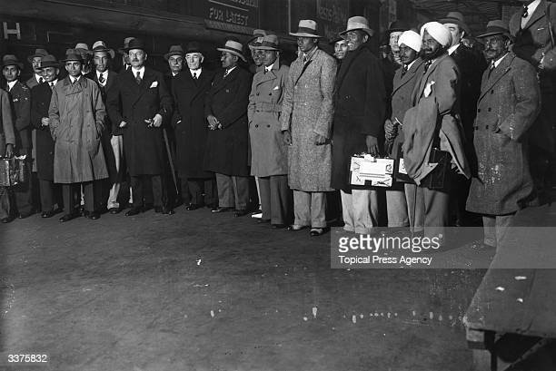 India Cricket team captained by Maharajah Rana on arrival at Victoria Station London