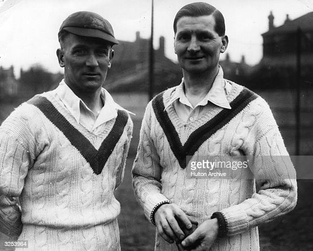 Notts CCC Harold Larwood and J Staples at Trent Bridge in a break during practise.