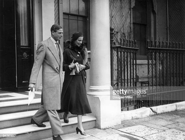 Prince George Duke of Kent and his wife Princess Marina of Greece and Denmark Duchess of Kent after paying a visit to what is to be their new home in...