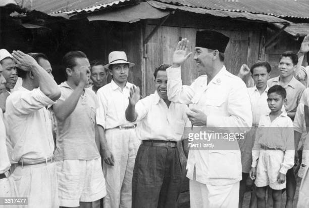 Indonesian statesman Achmed Soekarno president of Indonesia visiting his people Original Publication Picture Post 4749 The Struggle For Indonesia pub...