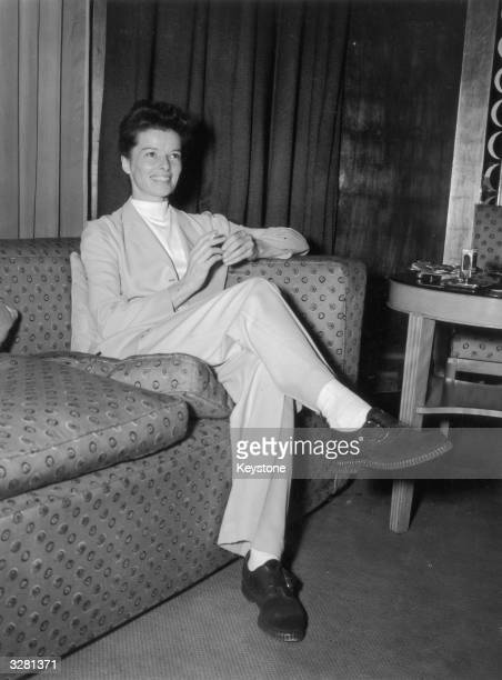 American actress Katharine Hepburn at a press reception at Claridges Hotel London for her new film 'The African Queen'