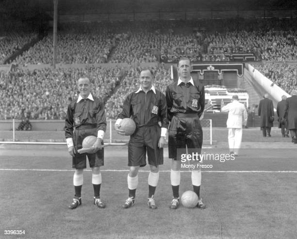 Referee R H Mann and two linesmen FC Williams and K G Aston for the Football Associations Amateur Cup Final at Wembley London between Bishop Auckland...