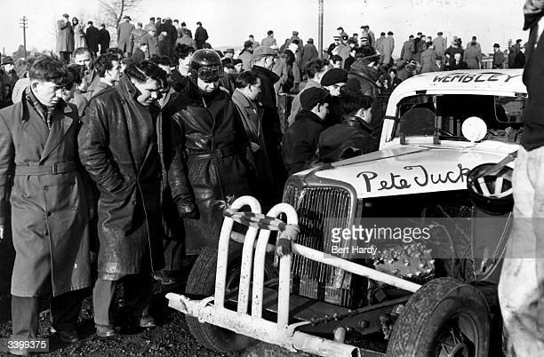 Tanya Crouch a stock car racer racing under Picture Post's colours examines one of the entries at a Neath Abbey race Original Publication Picture...