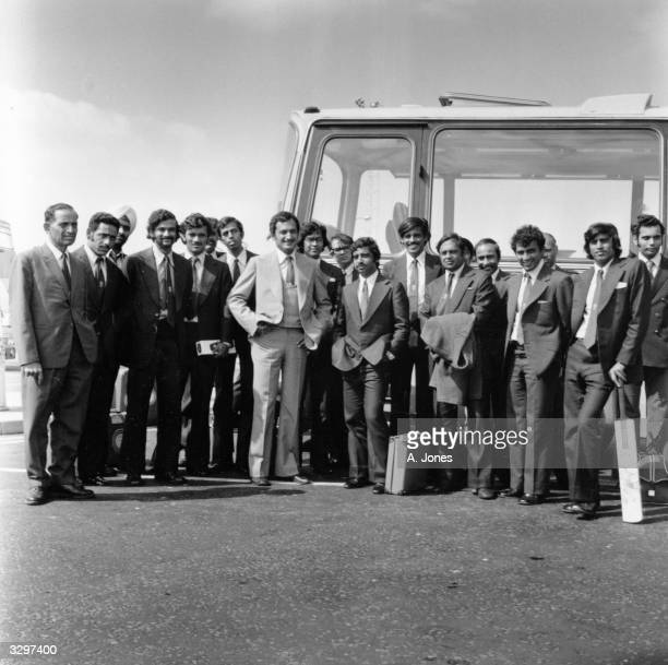 The 1974 Indian touring cricket team at London Airport with captain Ajit Wadekar