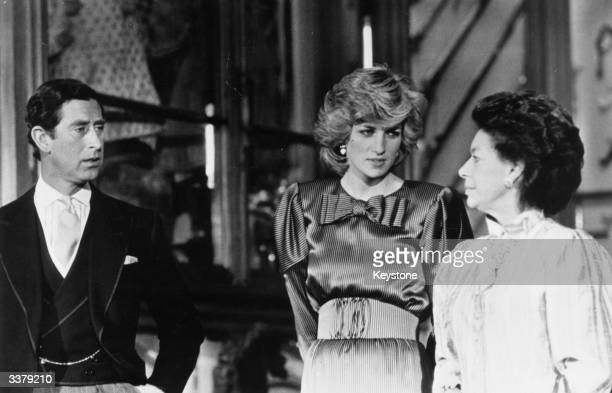 Charles Prince of Wales and Diana Princess of Wales with Princess Margaret Rose at Windsor Castle Berkshire ready to receive President Banda of...