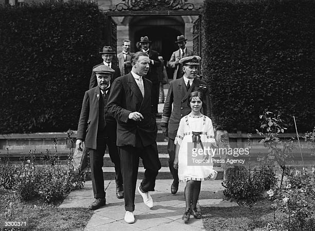A presentation to the 2nd Duke of Westminster Hugh Richard Arthur Grosvenor by the survivors of HMS Tara With the Duke is his daughter Lady Mary...