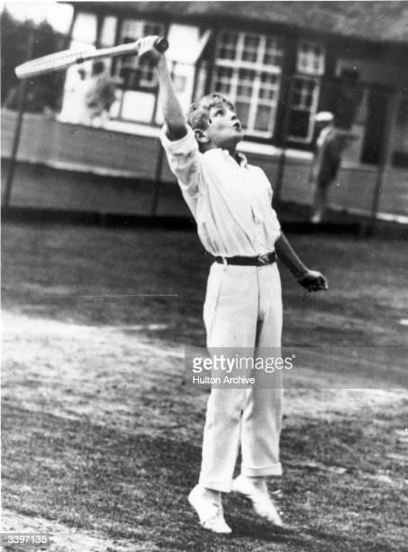 Randolph Churchill, son of Sir Winston Churchill, playing tennis at Frinton.