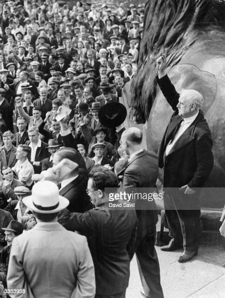 Labour MP George Lansbury making a speech during a Means Test demonstration against the Unemployment Assistance Regulations held in Trafalgar Square...