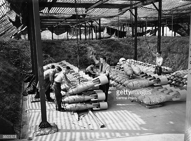 A munitions store at a British Fighter Station at the height of the Battle of Britain