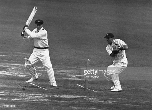 CHECK HIRES IF SUPPLYING DIGITALLY Australia's opening batsman Arthur Morris Wisden Cricketer of the Year 1949 seen here hitting a three off Eric...