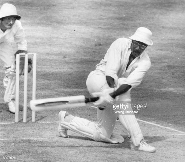 Cricketer Clive Lloyd in action at the wicket.