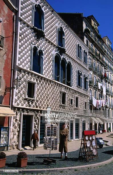 16th century casa dos bicos was built by alfonso de albuquerque. - casa stock pictures, royalty-free photos & images