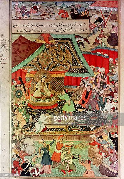 A 16th century illustration for a 14th century Persian story 'The History of the Mongols' King Oghuz holds a feast in the gold tent to celebrate the...