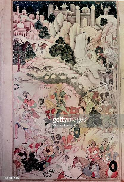 A 16th century illustration for a 14th century Persian story 'The History of the Mongols' Emir Hur Kudak at the head of an army ten thousand strong...