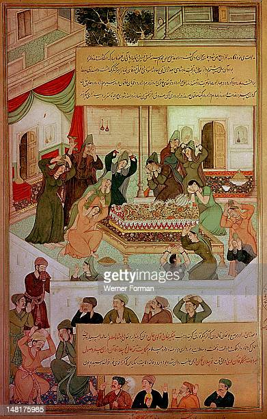 16th century illustration of a 14th century Persian story 'The History of the Mongols', Women mourning beside the coffin of Mangu Khan. India...