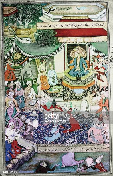 16th century illustration of a 14th century Persian story 'The History of the Mongols', Mangu Khan, brother of Kublai Khan, holds a feast at...