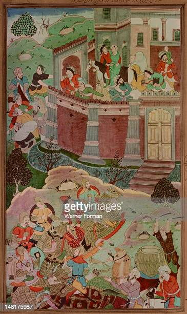 16th century illustration of a 14th century Persian story 'The History of the Mongols', Arik Buka, younger brother of Kublai Khan defeats, Alghu, son...
