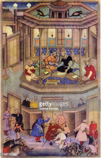 A 16th century illustration of a 14th century Persian story 'The History of the Mongols' Kublai Khan in council with his courtiers and scribes India...