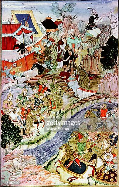A 16th century illustration of a 14th century Persian story 'The History of the Mongols' Genghiz Khan prays to the sun in the Kipchak Steppe before...