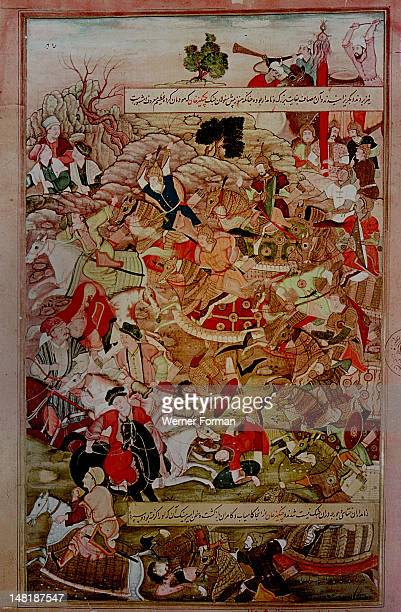 A 16th century illustration of a 14th century Persian story 'The History of the Mongols' Genghiz Khan's battle with the Khitai and Jurje tribes at...