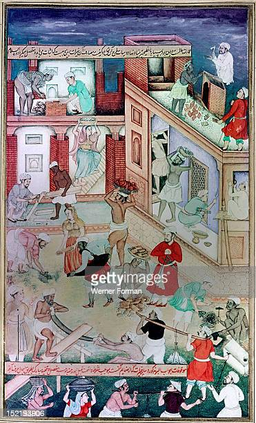 16th century illustration of a 14th century Persian story The History of the Mongols, Sultan Ghazan Khan builds Gates of Piety and charitable...