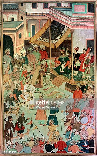 A 16th century illustration of a 14th century Persian story The History of the Mongols Sultan Ghazan Khan issues a new regulation for falconers and...