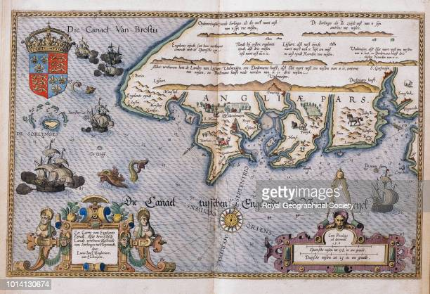 16th century map of Cornwall and the English Channel Die Canael Van Broftu' Page 20 from Christopher Plantin's 'Zee Caerte van Engelants Eijndt'...