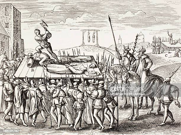 16Th Century Propaganda Illustrating Punishments Decreed By King Henry Viii Against English Catholics From Military And Religious Life In The Middle...