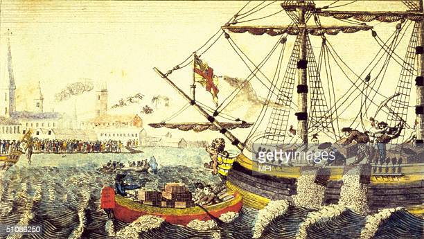 Artist's rendering of the Boston Tea Party Boston Massachusetts December 16 1773 A group of Bostonians threw tea into Boston harbour as a protest...