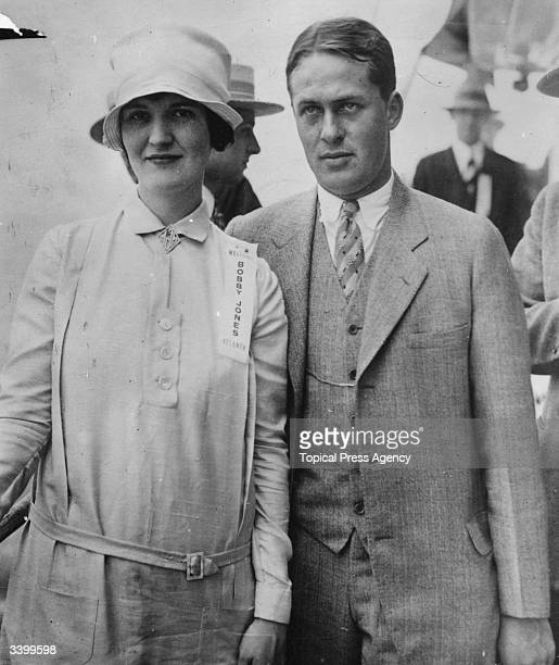 Bobby Jones champion American golfer who won the British Open three times and the US Open four times and his wife