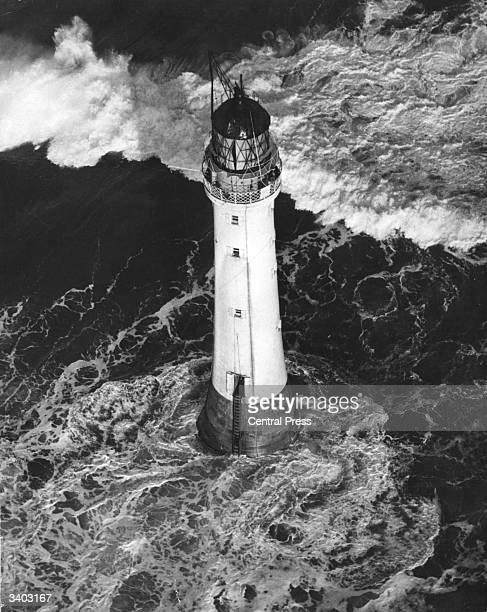 Bell Rock lighthouse, near Arbroath, off the Angus Coast. The lighthouse, built between 1807 and 1810, stands on a sandstone reef which is submerged...