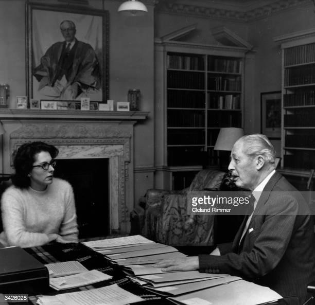 Ex-British prime minister Harold MacMillan with Anne Glyn-Jones.