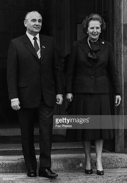 Mikhail Gorbachev Soviet Politburo member with Margaret Thatcher at the Prime Minister's official residence Chequers