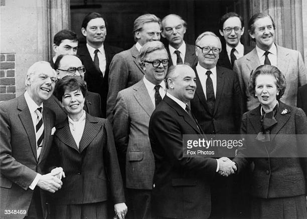 Various ministers gathered at Chequers the British prime minister's country residence for Russian President Mikhail Gorbachev's visit Left to right...