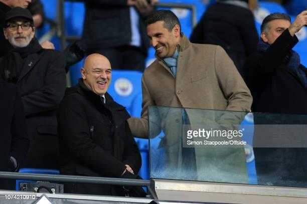 16th December 2017 - Premier League - Manchester City v Tottenham Hotspur - Spurs Chairman Daniel Levy laughs with Man City chairman Khaldoon Al...