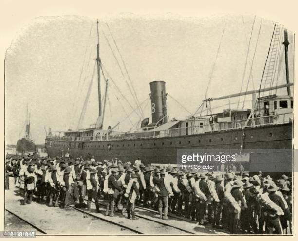 "16th Infantry Embarking', Spanish-American War, June 1898, . US Army soldiers going on board a ship at Port Tampa, Florida, USA. From ""The Little I..."