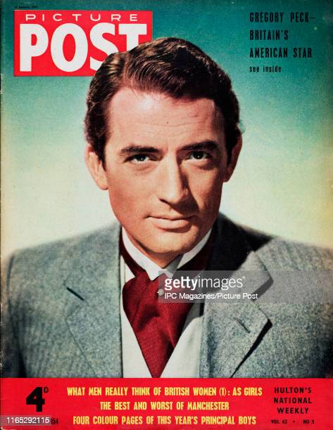 American actor Gregory Peck is featured for the cover of Picture Post magazine. Original Publication: Picture Post Cover - Vol 62 No 03 - pub. 1954.