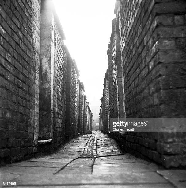 An alley at the back of terraced houses in Manchester. Original Publication: Picture Post - 6871 - The Best And Worst Of Our Cities : Manchester -...