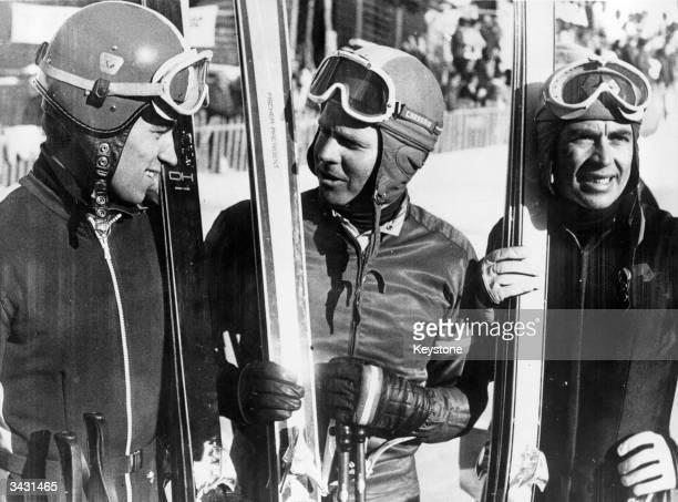 The winners of the lauberhorn Downhill Race in Wengen Switzerland Kurt Schranz Gerhard Nenning and Edmund Bruggmann
