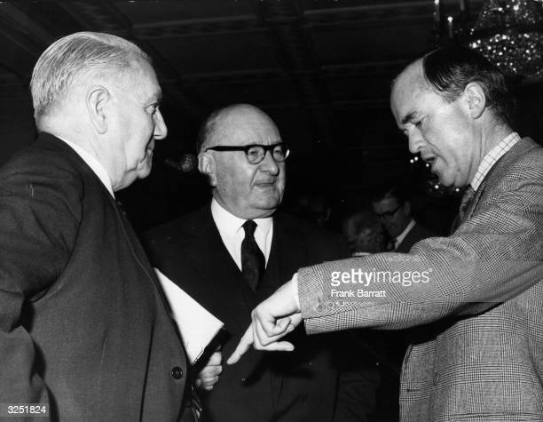 G Reader chairman of Southampton Dennis Hill Wood chairman of Arsenal and John Cobbold chairman of Ipswich Town at the Football League Club Chairmen...