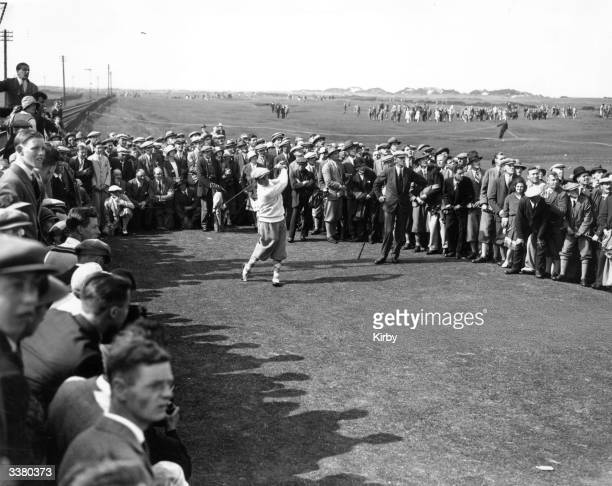 American golfer Bobby Jones driving from the 17th tee at St Andrews where he went on to win the British Golf Open with a record score of 285 The...