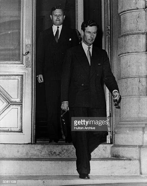 Group Captain Peter Townsend , posted as British Air Attache in Belgium, seen leaving the British Embassy. His name was romatically linked with...