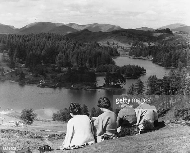 Visitors to Tarn Haws in the Lake District Cumbria northwestern England
