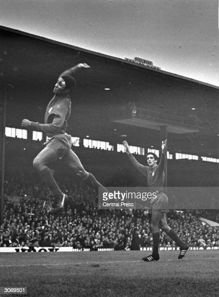 Portuguese footballer Eusebio celebrating after scoring his team's second goal in the world cup match against Bulgaria in Manchester
